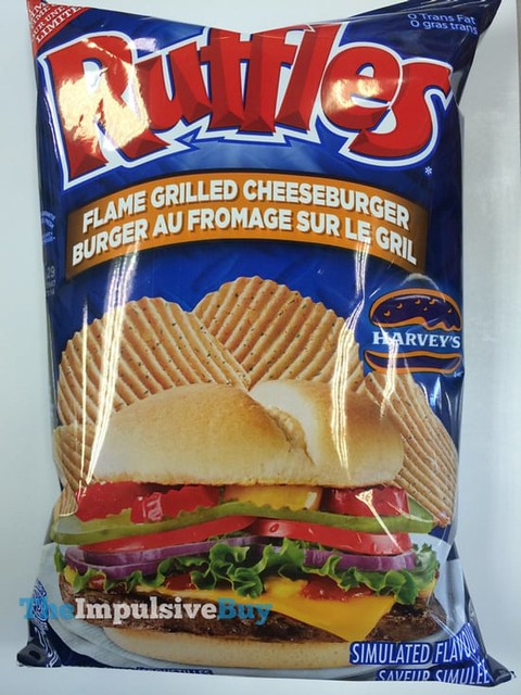 Ruffles Limited Time Only Harvey's Flame Grilled Cheeseburger Potato Chips