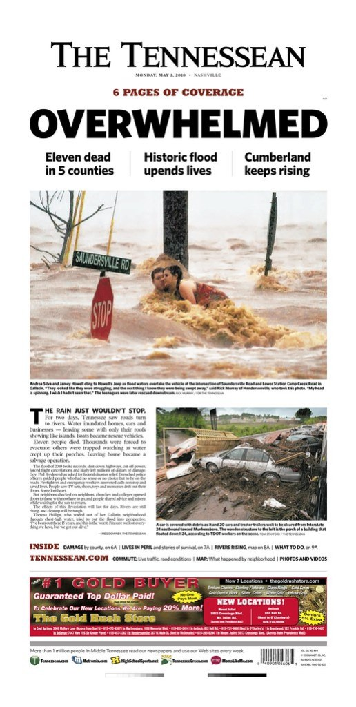 Front Page of The Tennessean, May 3, 2010