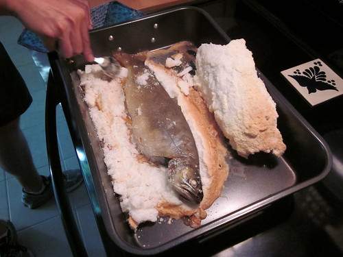 salt encrusted trout