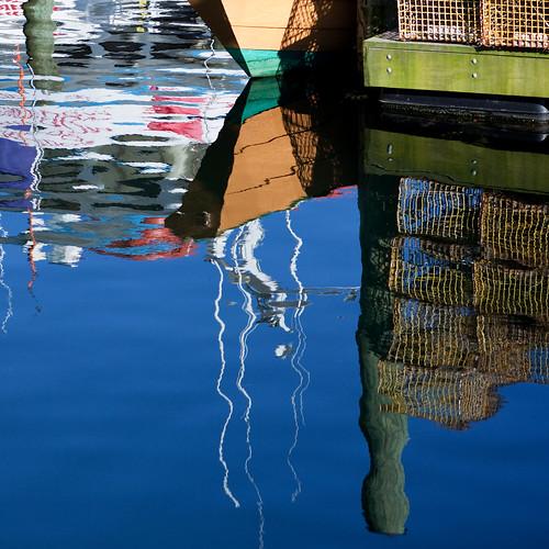Gloucester MA Mass Massachusetts reflection boat water harbor