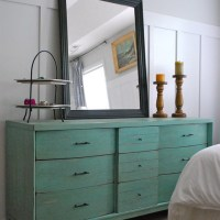 Before and After Turquoise Dresser
