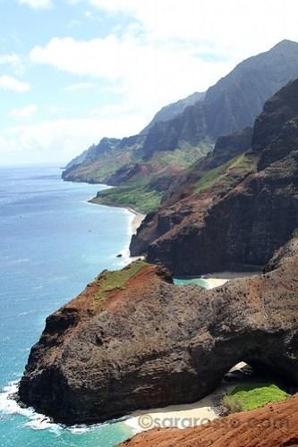 Honopu Arch, Na Pali coast, Kauai, Hawaii