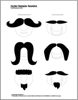 DIY Baby Mustache Pacifier Printable Template PDF