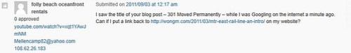 Failed comment spam: the page title is '301 Moved Permanently'