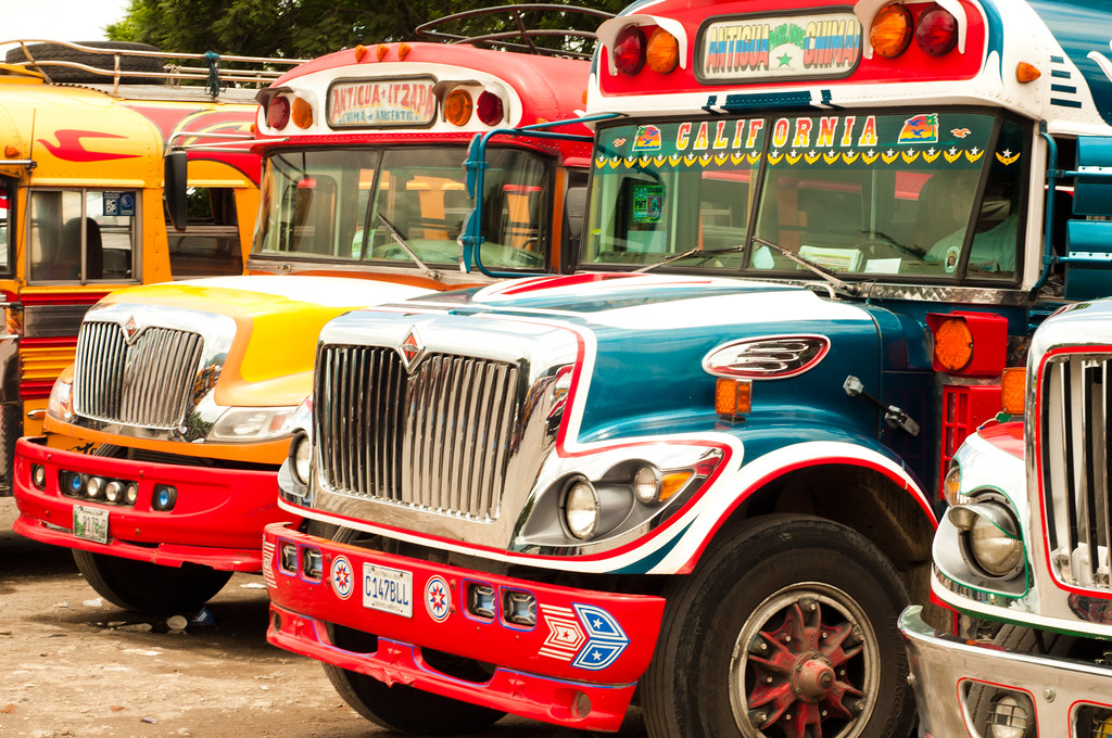 Chicken buses in Antigua, Guatemala