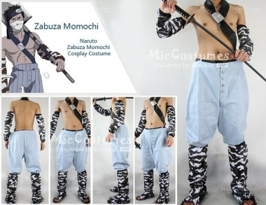 Naruto light blue Momochi Zabuza cosplay costume