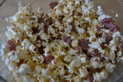 Popcorn with swiss and pastrami