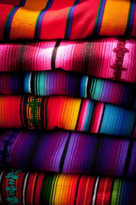 Colorful blankets in Guatemala