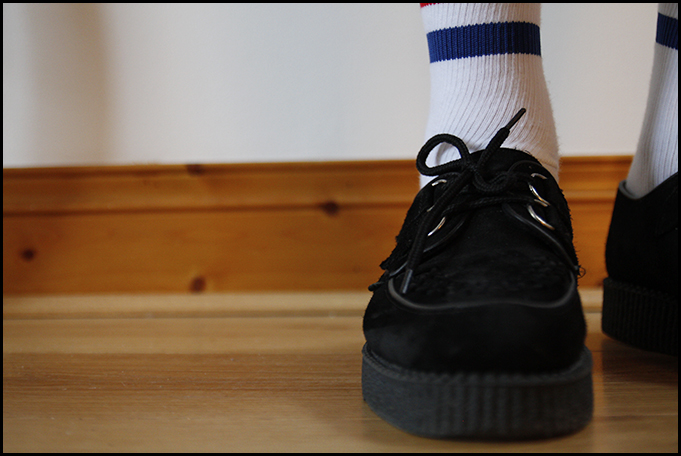 Tuukka13 - Testing - Black Shoes With Striped Socks - Prada, McNairy and Underground Creepers - 6