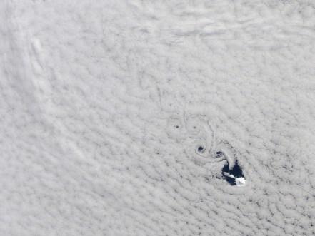 Cloud Vortices Heard Island Indian Ocean