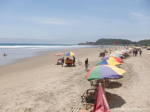 The beach in Montanita, Ecuador