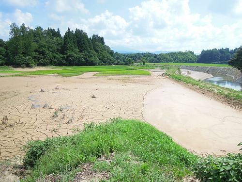 20110809栃尾から下田に向かう209号の川近く