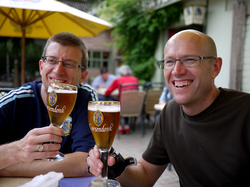 Erik & Andrew with Corsendonk Beer