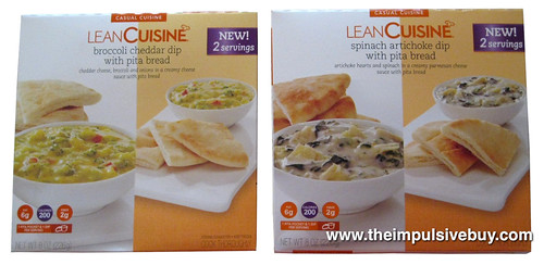 Lean Cuisine Casual Cuisine Dip with Pita Bread (Broccoli Cheddar and Spinach Artichoke)