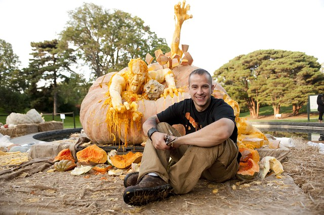 Ray Villafane and his pumpkin sculpture