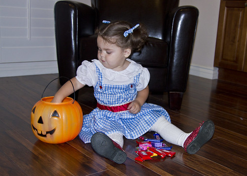 counting her candy