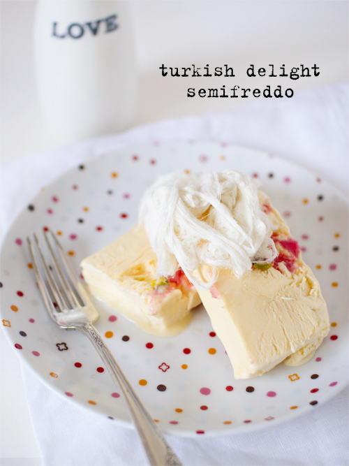 turkish delight & pistachio semifreddo
