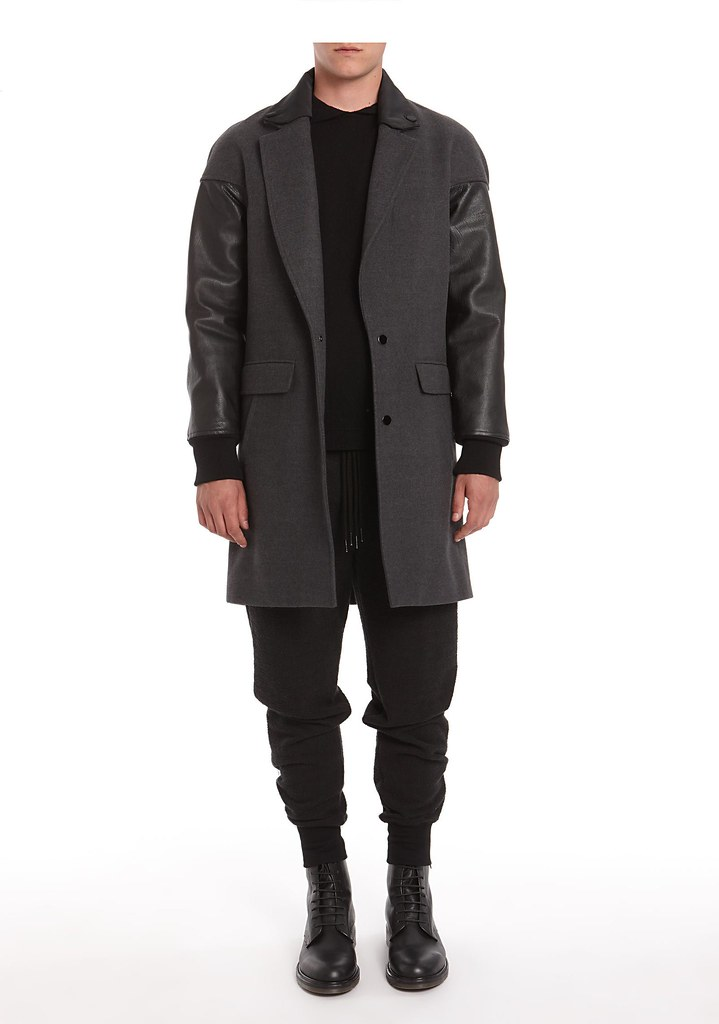 Alexander Wang Brushed Felt Car Coat With Leather Sleeves