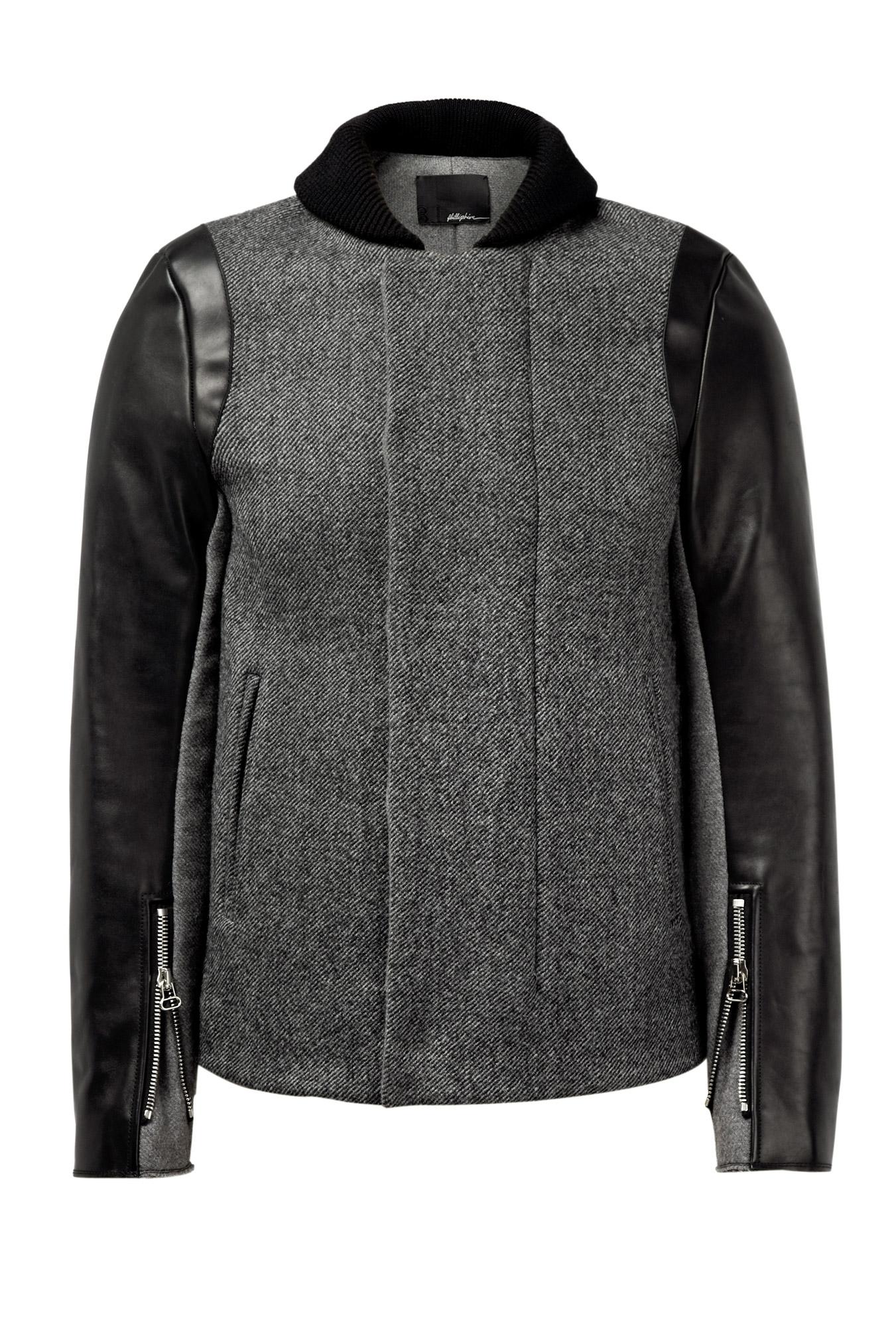 31 Phillip Lim Grey Tweed Leather Biker Sleeve m4_653356