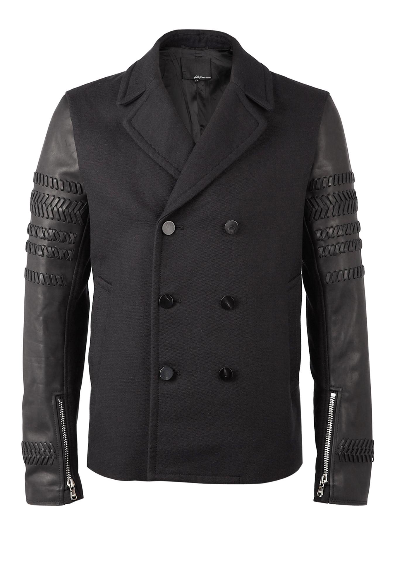 31 Phillip Lim Black Leather Braid Biker Sleeve Pea Coat m4_931496