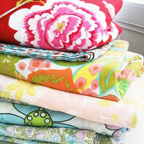 Pile of vintage sheet fabric