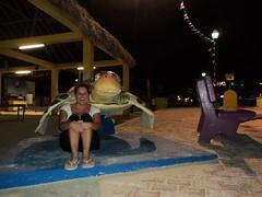 Jen on Turtle Statue