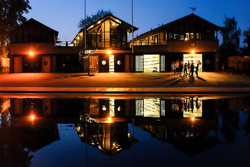 Rowing shed reflections at blue hour