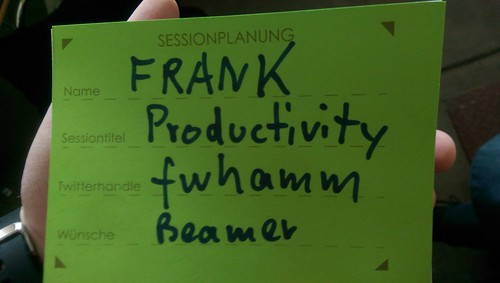 "Sessionkarte ""Productivity"" @fwhamm"