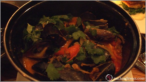 ... : Mussels, tomato coconut cream, smoked chili, lime, cilantro