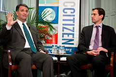 Jack Abramoff and Public Citizen president Robert Weissman. Photo by Brendan Hoffman for Public Citizen use.