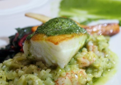 ECO-TAGGED LINE CAUGHT LING COD, side stripe shrimp, leeks, fennel & watercress risotto,  roasted music garlic & herb butter