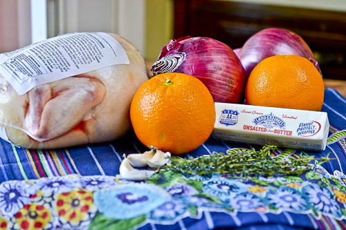 Garlic Butter-Rubbed Roast Chicken with Oranges & Red Onions 19