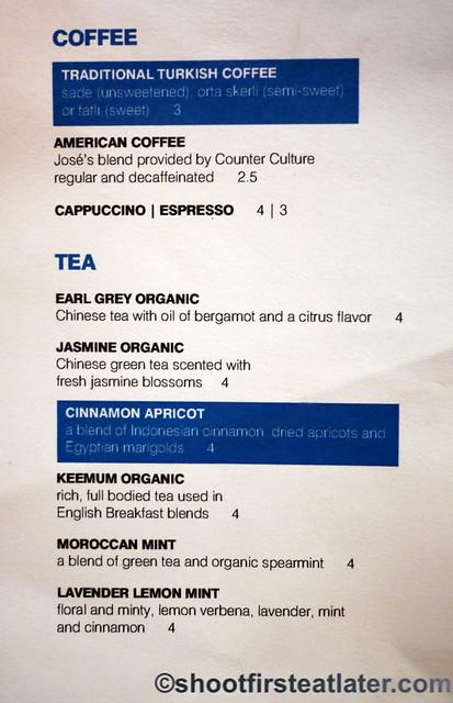 Zaytinya coffee and tea menu