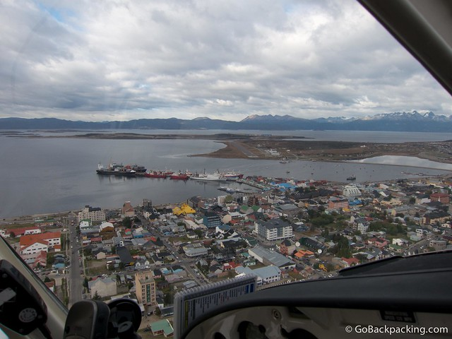 Passing over Ushuaia as we prepare to land at the old airport