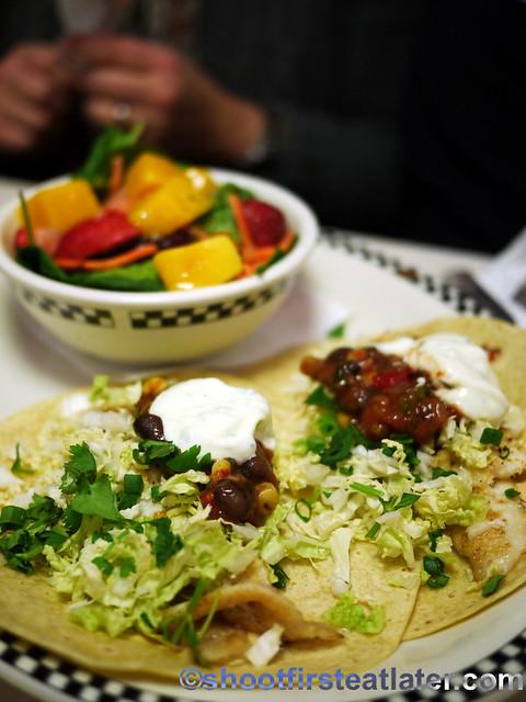 Baja fish tacos with summer citrus salad