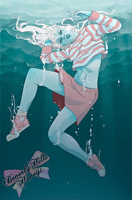 woman underwater clip