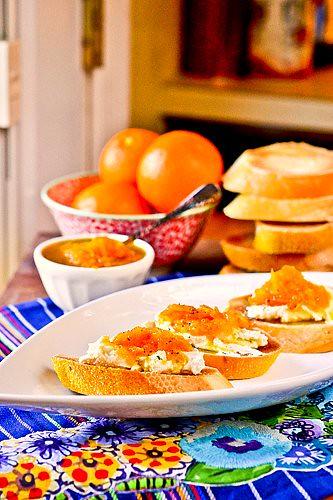 Goat Cheese Crostini with Orange & Black Pepper Marmalade 6