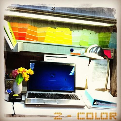 Reusing paint swatches as #color decor at my desk. #photoadayapril #colour