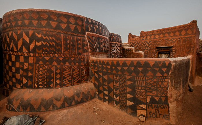 Gurunsi villages are formed by sukhala houses, which are decorated hand painted by the women of the village, tiebele, burkina faso