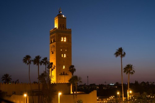 The beautiful Marrakech Mosque by night