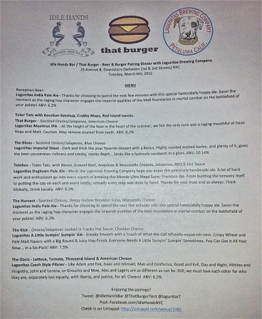 Lagunitas/That Burger pairing dinner at Idle Hands Bar - the menu