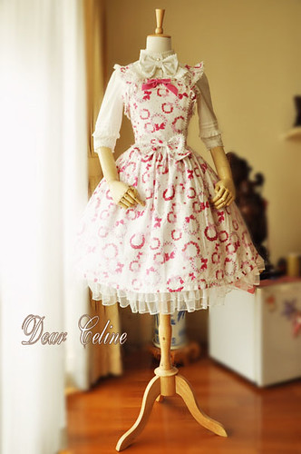 Dear Celine Fall Sweet Flower Print Bow Cotton Lolita Dress2