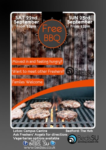 Beds SU Welcome BBQ Poster