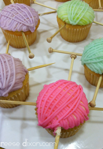 Lion Brand yarn cupcakes