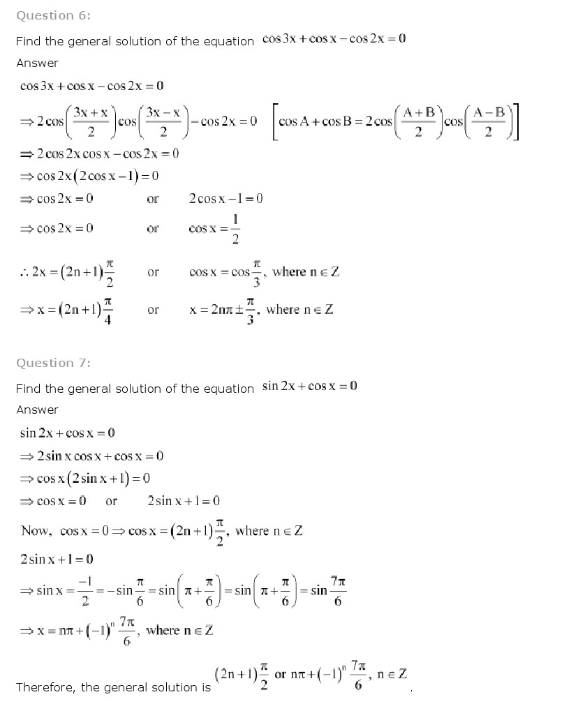 NCERT Solutions for Class 11th Maths Chapter 3 - Trigonometric Functions