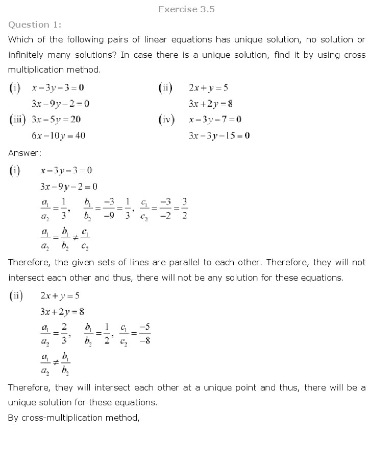 NCERT Solutions for Class 10th Maths: Chapter 3 – Pair of Linear Equations in Two Variables