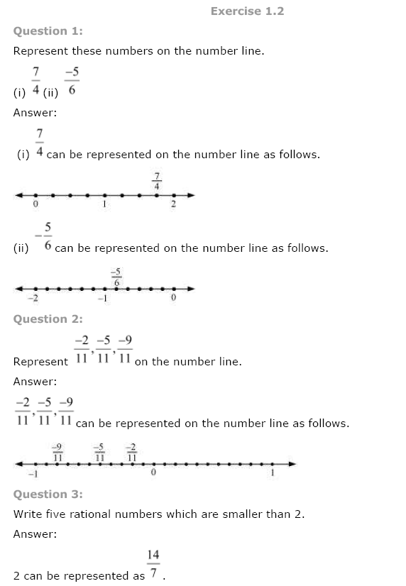 NCERT Solutions for Class 8th Maths Chapter 1 Rational Numbers