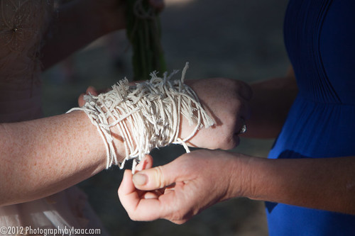 Everyone gave advice and tied a string around our wrists.