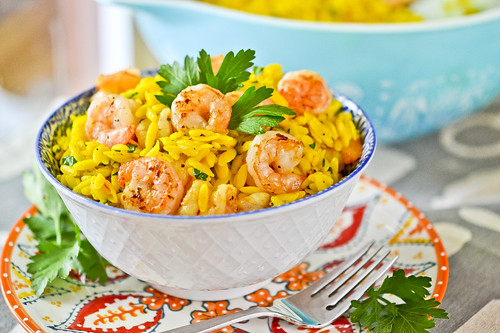 Saffron Orzo with Shrimp 4