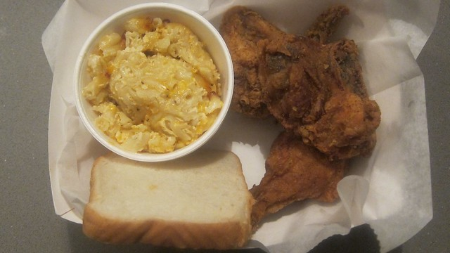 fried chicken and a side at curly's fried chicken
